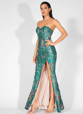 KELLIPS Sexy Strapless Cut Out Geometric Pattern Sequins Maxi Dress