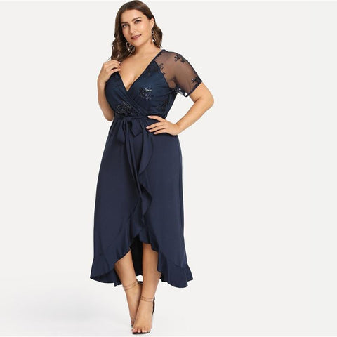 KELLIPS Plus Size Deep V Neck Ruffle Sequin Mesh Wrap Sexy Dress