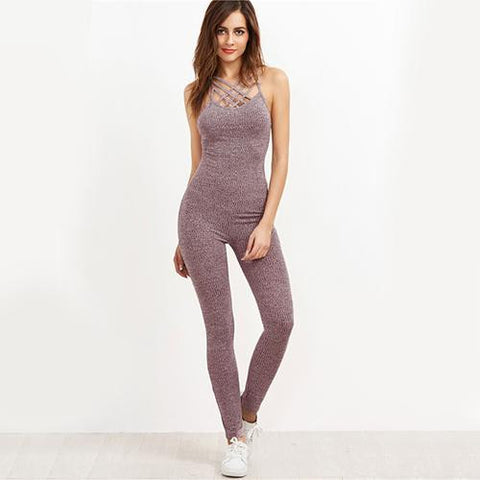 KELLIPS Cage Neck Sexy Skinny Women Casual Knit Jumpsuit