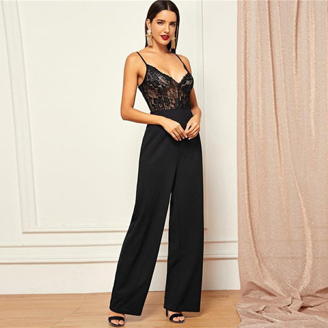 KELLIPS Black Solid High Waist Sheer Sexy Cami Lace Jumpsuit