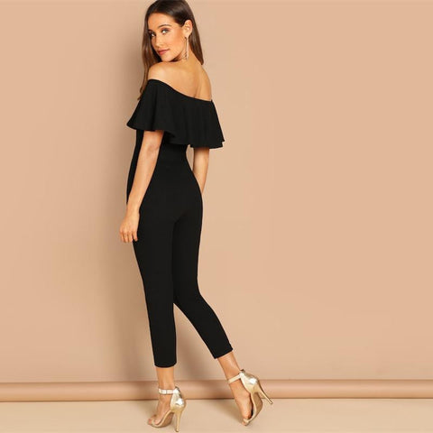 KELLIPS Black Off the Shoulder Ruffle Sexy Skinny Shirt Jumpsuit