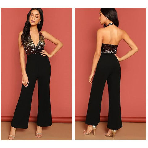 KELLIPS Black Halter Neck Sequin Bodice Sexy Party Jumpsuit