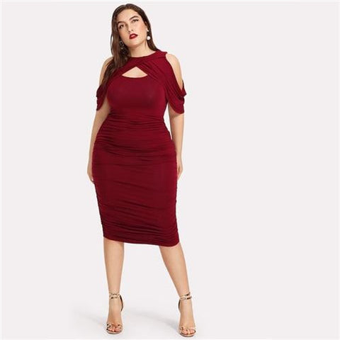 KELLIPS Plus Size Draped Cold Shoulder Ruched Wrap Party Midi Dress