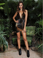 KELLIPS Sexy Deep V-Neck Velvet Material Bodycon Party Dress
