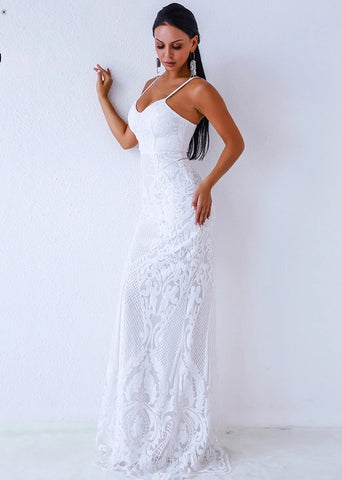 KELLIPS Sexy V Neck  Off Shoulder Backless sleeveless sequin Dress