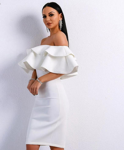 KELLIPS Sexy Off Shoulder Slash Neck Ruffles Backless Dress