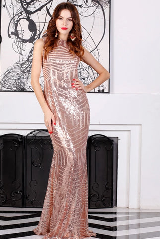KELLIPS Sexy Sleeveless Backless Chian Sequin Maxi Dress