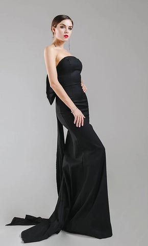 KELLIPS Sexy Wrapped Chest Bow Halter Maxi Dress Party Dress