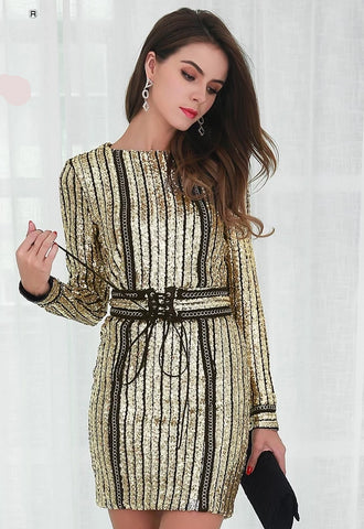 KELLIPS Sexy O-Neck Long Sleeve Sequin Belt Rope Dress