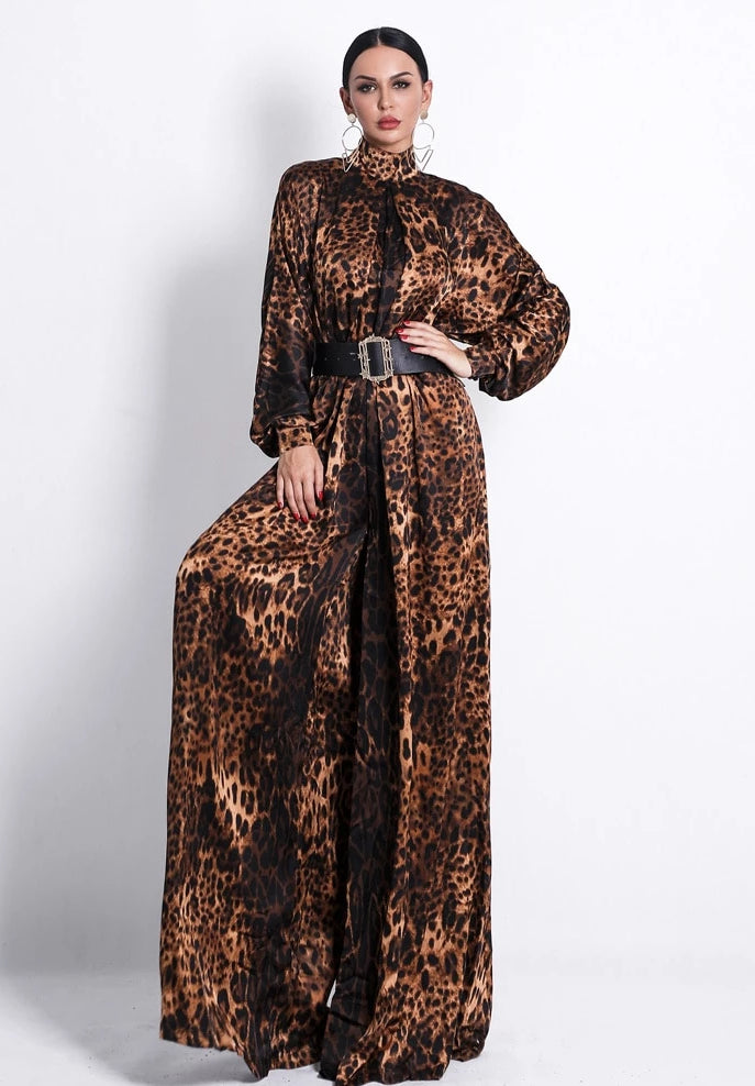 KELLIPS High Neck Long Sleeve Leopard Jumpsuit