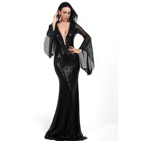 KELLIPS Sexy Deep V Long Flare Sleeve Sequin Dress