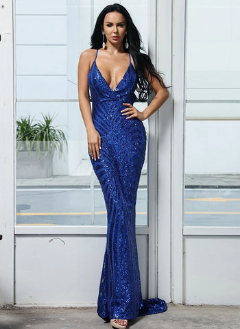 KELLIPS Sexy Deep V Neck Backless Women Sequin Bodycon Maxi Party Dress