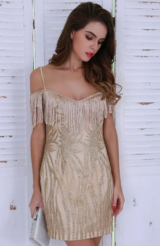 KELLIPS Sexy Off Shoulder Tassel Glitter Mini Gold Elegant Dress