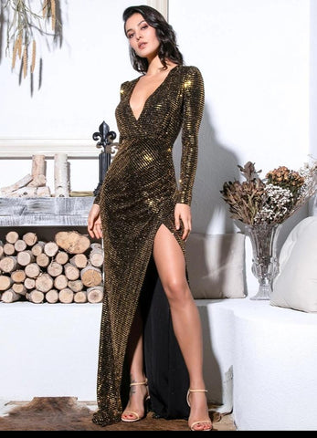 KELLIPS Sexy Gold Cut Out Puff Sleeves Glitter Sequins Elastic Material Maxi Dress