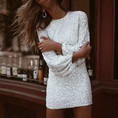 KELLIPS Sexy O Neck Long Flare Sleeve Sequin Bodycon Dress