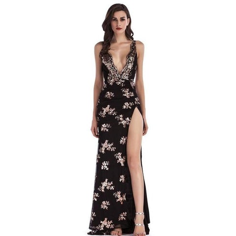 KELLIPS Sexy Deep V Neck Sequin Luxury Night club Party Dress