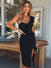 KELLIPS New Club Wear Ruffles One Shoulder Black Bodycon Party Dress