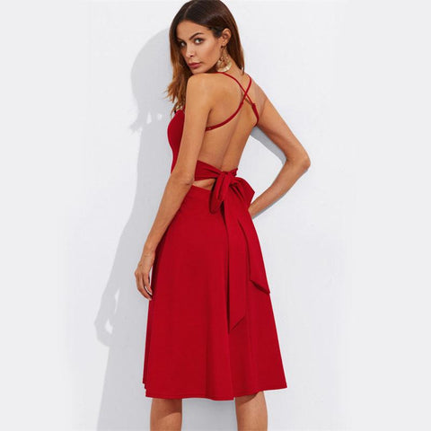 KELLIPS Belted Criss Cross Back Cut Out Sexy Red Mini Dress