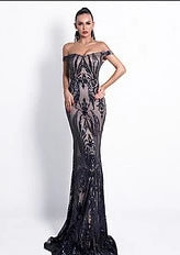 KELLIPS Sexy Bra Off Shoulder Backless Sequin Elegant Maxi Party Dress