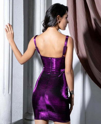 KELLIPS Sexy Purple Strapless Bodycon Reflective Fabric Party Dress