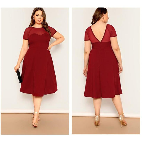 KELLIPS Plus Size Burgundy V Back Mesh Fit And Flare Party Midi Dress