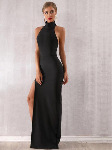 KELLIPS Sexy Sleeveless Halter Hollow Out Maxi Party Dress