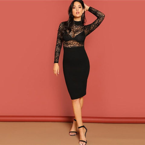 KELLIPS Sexy Summer Party High Waist Spring Bodycon Slim Midi Dress