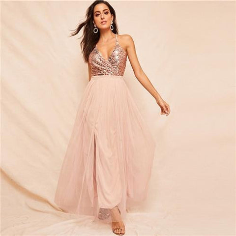 KELLIPS Pink Sequin Sexy Deep V Neck Fit And Flare Slip Maxi Dress