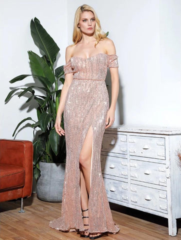 KELLIPS Sexy Rose Gold Tube Top Split Short Sleeve Elastic Sequins Maxi Dress