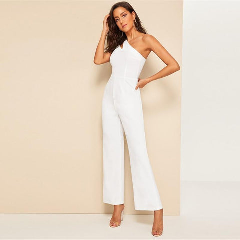 KELLIPS White Double Strappy One Shoulder Jumpsuit