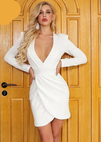 KELLIPS Sexy Deep V Long Sleeve Pleated Dress