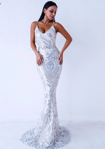 KELLIPS Sexy Off Shoulder Sequin Backless Maxi Elegant Party Dress