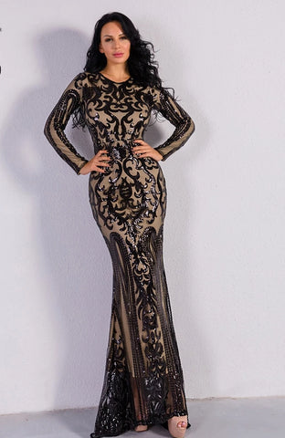 KELLIPS Sexy O Neck Long Sleeve Retro Sequin Maxi Gorgeous Dress