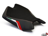 LuiMoto Team Italia Suede Leather Front Seat 09-2015 Aprilia RSV4 - RED Stitching