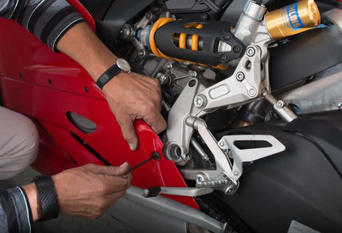 The Ducati 899/1199/1299 Panigale models are another special case. They do not require a frame insert to be installed, but they do require a small section of the lower fairing to be trimmed