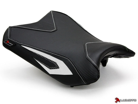 LuiMoto Team Kawasaki Seat Cover for 2013-2015 Kawasaki Ninja 300 - Black/CF Black/White