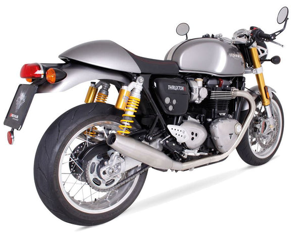 Remus Custom Tapered Stainless Steel Slip-On Exhaust Systems 2016-2017 Triumph Thruxton 1200 / R - motostarz.com