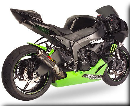 Hotbodies Racing MGP Growler Carbon Slip-on Exhaust System 2009-2012 Kawasaki ZX6R