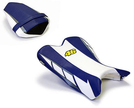 LuiMoto Limited Edition Seat Cover '09-'14 Yamaha YZF R1 - CF White/Blue - Motostarz USA