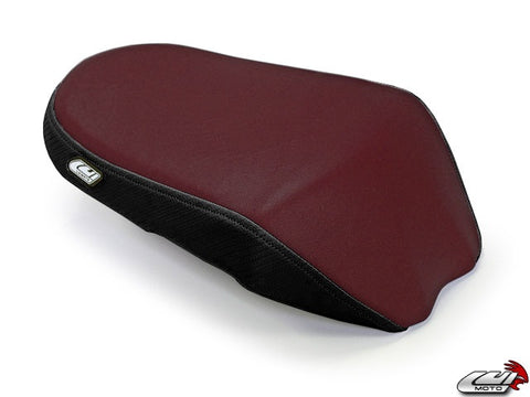 LuiMoto Team Suzuki TYPE II Seat Covers for 2009-2014 Suzuki GSXR 1000 - Burgundy/Silver/CF Black