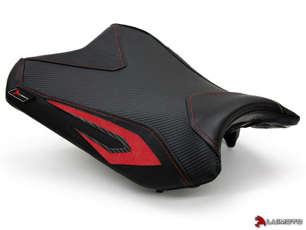 LuiMoto Team Kawasaki Seat Cover for 2013-2015 Kawasaki Ninja 300 - Black/CF Black/Red