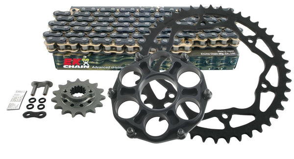 Drive Systems Superlite RS7 525 Pitch Steel Quick Change Sprocket w.EK Quadra-X Ring Sealed Chain - Ducati 1199/1299 Panigale