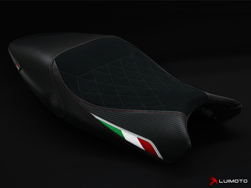 LuiMoto Diamond Edition Seat Cover for Ducati Monster 696/796/1100 - Suede/Cf Black/Black - Red Diamond Stitching