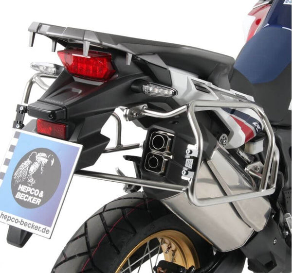 Hepco & Becker Cutout Side Carrier With Black Xplorer Cases for '16-'17 Honda CRF1000L Africa Twin Alurack & Easyrack