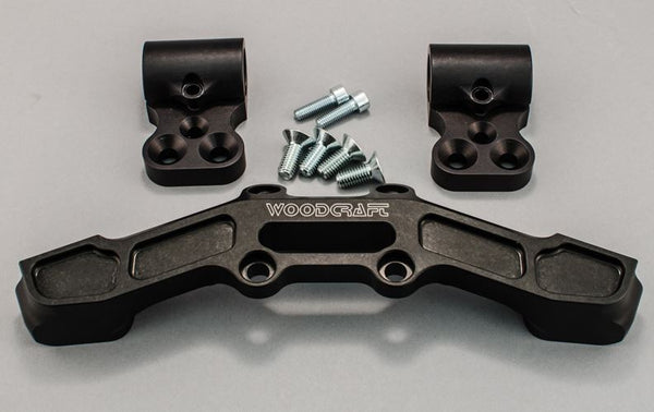 Woodcraft Clip-On Adapter Plate Riser Set w.Long Black Bar for '15-'16 Ducati Scrambler