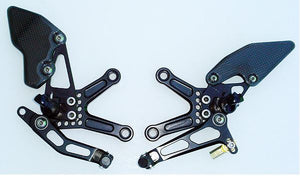 Attack Performance Adjustable Rearsets '05-'12 Kawasaki ZX6R, '13-'15 ZX6R 636 - Black