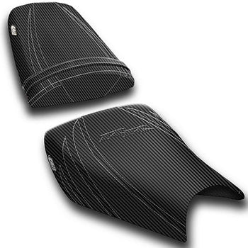 LuiMoto Tribal Flight CF Seat Covers 2004-2007 Honda CBR1000RR - CF Black w/Silver Stitching