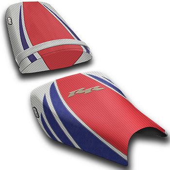 LuiMoto Tribal Flight CF Seat Covers 2004-2007 Honda CBR1000RR - CF Red/Pearl/SP Blue