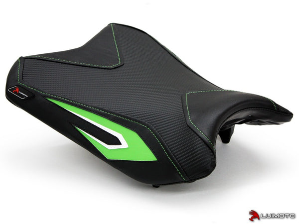 LuiMoto Team Kawasaki Seat Cover for 2013-2015 Kawasaki Ninja 300 - Black/CF Black/Lime Green/White