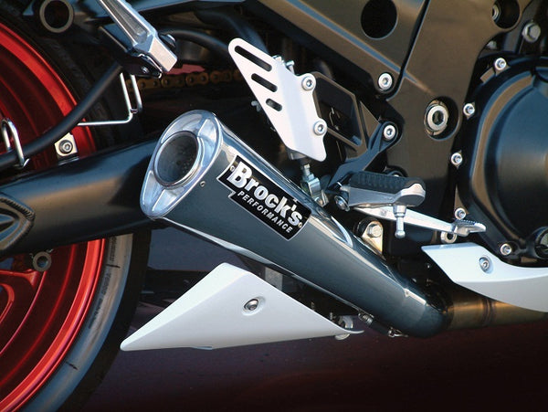 "Brocks Performance 14"" Alien Head 2 Polished Full Exhaust System 2006-2011 Kawasaki ZX-14"